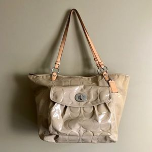 Coach Tan Patent Leather Tote Bag